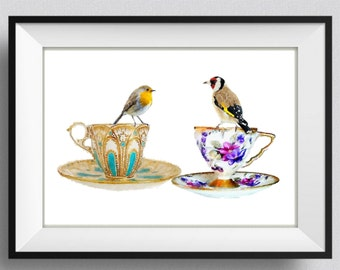 Bird Print Bird Painting Watercolor Tea Time Nursery Wall Art Wedding Gift Home Decor Wall Hanging Pic no 85