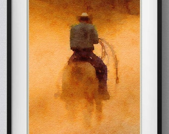 Texas Cowboy print,painting,watercolor,home decor,Pic no 87