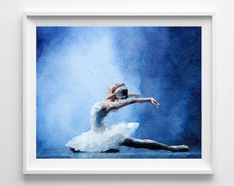 Ballet print,Swan Lake,Tchaikovski,Ballet painting,watercolor,wall art,Love Valentine Pic no 91
