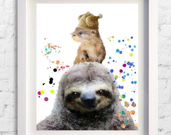Sloth print,Otter print,sloth painting,sloth watercolor,wall art,Pic no 95