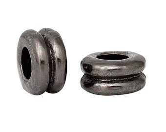 Round Dumbbell Gunmetal Finish Bead, 6mm x 3mm, 50 count (SB-6x3-GM-1)