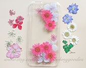 Flower iPhone 5 Case, Pressed Flower iPhone 6 Plus Case, Floral iPhone 5c Case, Clear iPhone 6 Case, iPhone 5s Case Clear, Phone Case