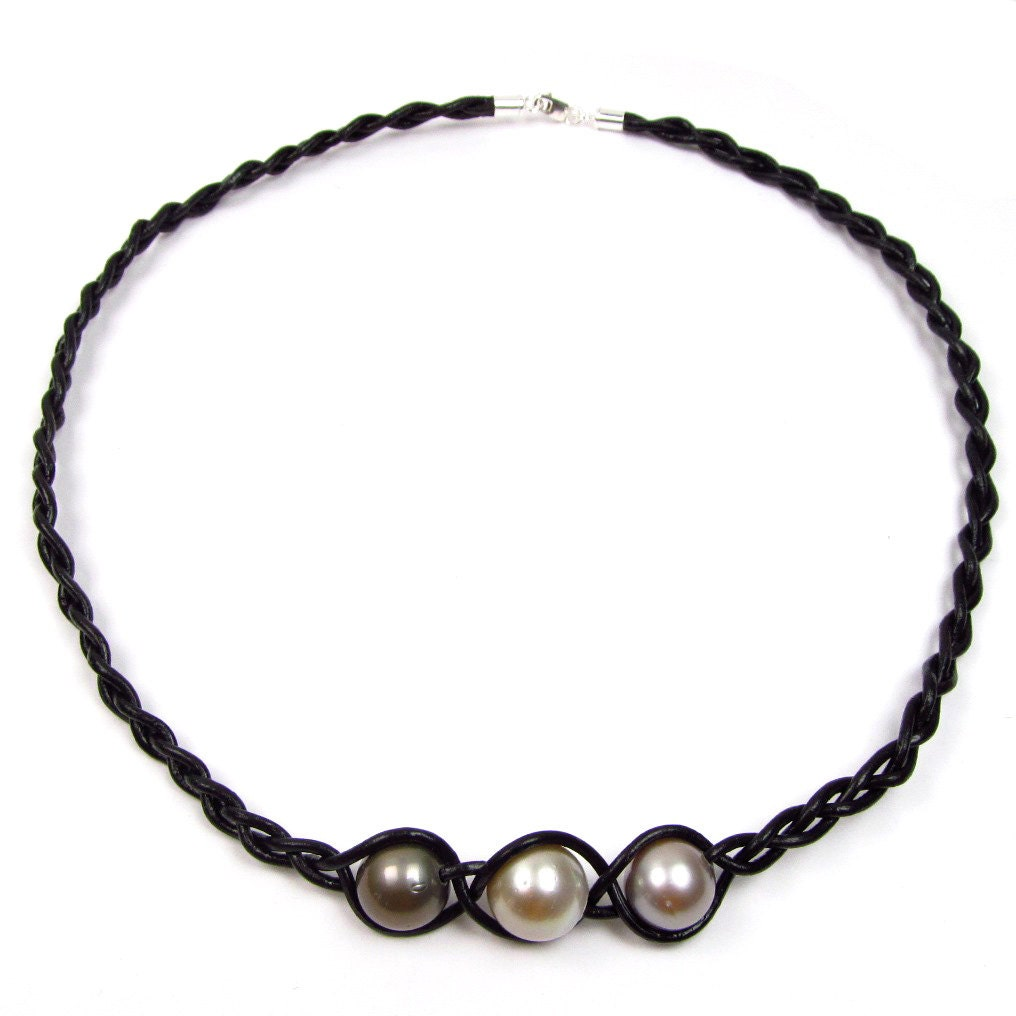 Tahitian Pearl And Leather Necklace: 11-12mm Multi Color Tahitian Pearl Braided Leather Cord