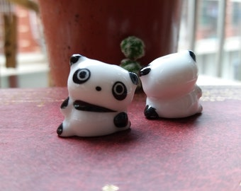 5 pcs Panda Ceramic beads White Black