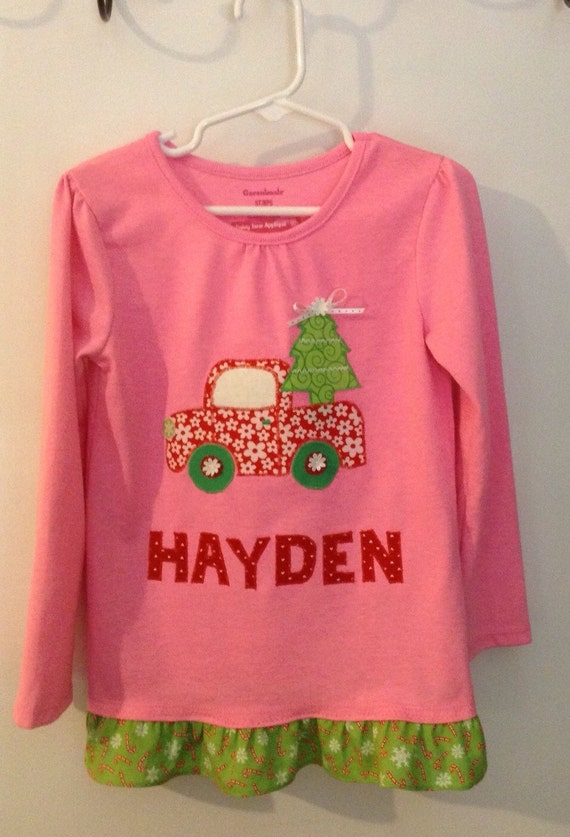 Toddler girl's Christmas tree truck appliqué top