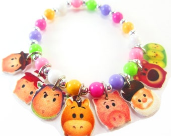 Tsum Tsum Toy Story Charm Bracelet, Tsum Tsum Toy Story Jewelry, Toy Story Birthday, Tsum Tsum Toy Story Party Favors, Toy Story Necklace