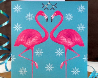 Flamingo Christmas Card - teal or fawn - flamingo cards - modern christmas cards