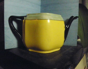 Rare Vintage J. Rieben Bavaria tea pot in yellow, black,and green lustre
