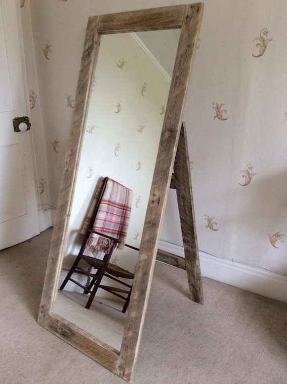 Wall Mounted Full Length Mirror rustic full length mirror wall mounted or with stand made from