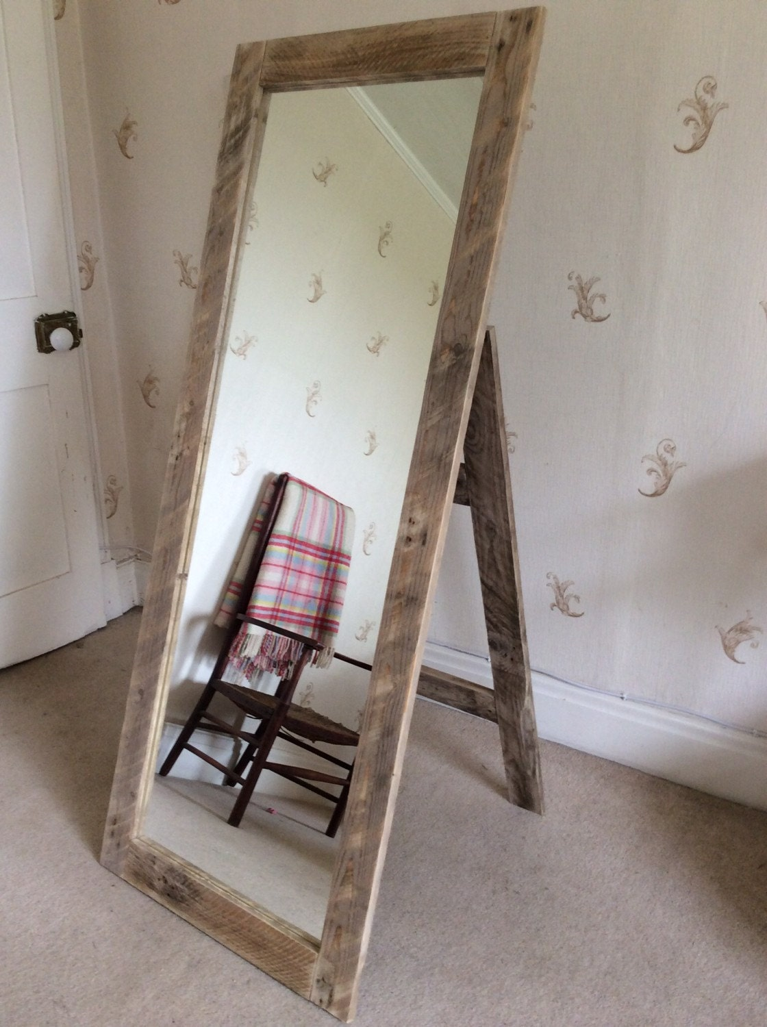 Rustic full length mirror wall mounted or with stand made from for Stand up mirror