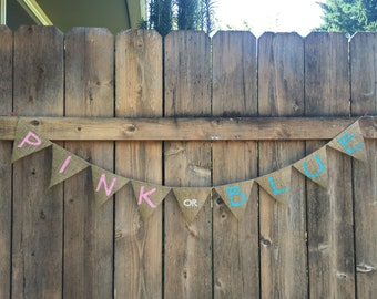 PINK OR BLUE Burlap Banner - Customize!