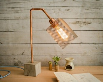 "Industrial concrete copper table lamp, Industrial lamp, Desk lamp, Copper lamp, Edison lamp, Concrete light, Table lamp, Model ""Lamp CC01"""