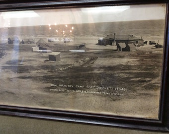 Panoramic 1915 Photo of Texas WWI 28th Infantry Camp by Medley and Henningsten