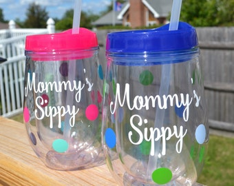 Mommy's Sippy Wine Tumbler // BEV2GO // Custom Colors Available