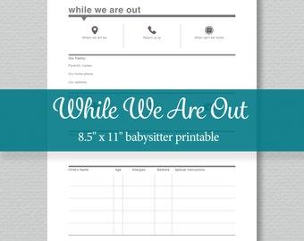 Babysitter Notes Printable - Editable PDF - Digital Download - Standard Letter Size