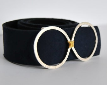 Eternity, silver and gold buckle belt