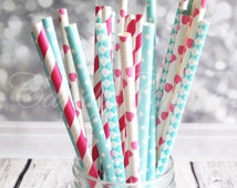 FROZEN Light Blue and Magenta Mixed Paper Straws Frozen Themed Multipack Paper Straws, Weddings, Parties, Showers, Gifts