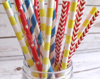 Red PRIMARY DAYS/CIRCUS Yellow Blue Straws - Primary Days Mix - Chevron Dot Stripe - Multipack of 25 Primary Color Straws - Circus Straws