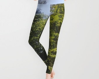 Green Trees Nature Print Leggings Polyester Spandex Antimicrobial Yoga Jogging Leggings