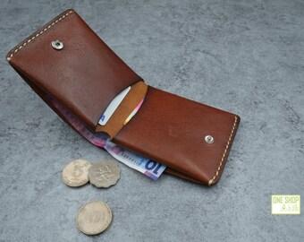 Blown Folding leather purse/wallet/credit card case/cash case with button closure
