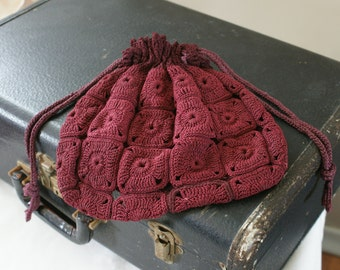 1940's Vintage Burgundy Granny Square Tight Crochet/Knit Pouch Purse Hippie Boho - M-449