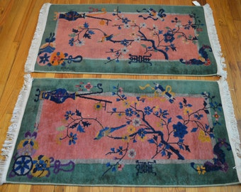Pair of Matching Antique Chinese Art Deco Rugs // Salmon & Green // Size 2x4