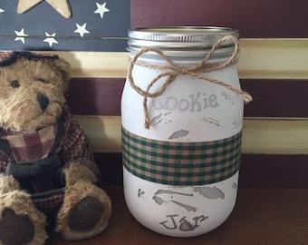 Mason Jar Cookie Jar, Weathered Cookie Jar, Rustic Cookie Jar, KLEcountrysigns, Cookie Jar