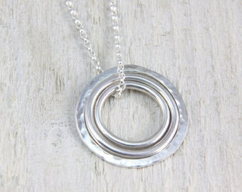 Sterling silver necklace - Silver ring necklace - Textured interlocking silver circle pendant - Triple ring sterling pendant necklace