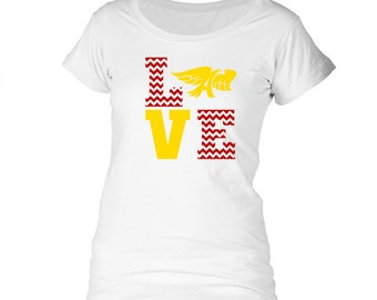 Licensed Ankeny Hawks LOVE Girls/Ladies' tee - Licensed Ankeny Hawks shirt
