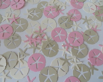 Sand Dollar and Starfish Confetti - Set of 240 - Handmade - Sea Shells, Party Decor, Wedding, Shower, Beach Party