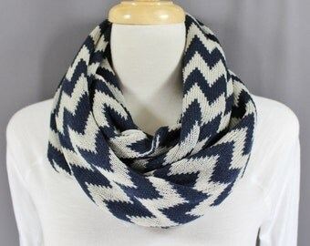 Navy Blue Cream chevron infinity scarf soft knit circle endless loop long circular zig zag pattern