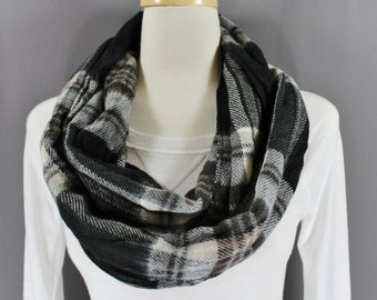 Black Grey White Brown plaid tartan super soft infinity endless loop cowl long circle scarf Fall Autumn