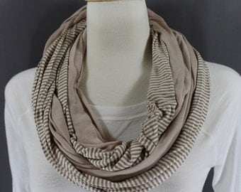 Light Brown Cream striped solid jersey knit comfy long circular infinity scarf endless loop circle super soft