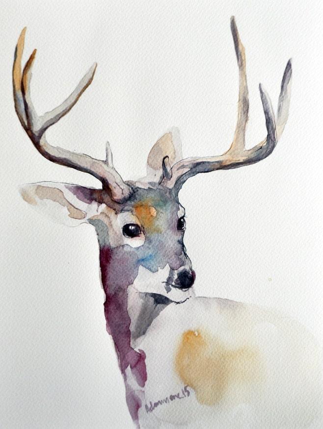 deer original watercolor painting christmas present winter. Black Bedroom Furniture Sets. Home Design Ideas