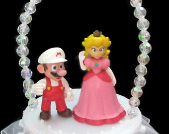 Princess Peach and Mario Wedding Cake Topper