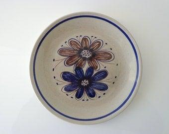 Stavangerflint Norway Florry Breakfast plate, brown/blue flower, Nils Aarestad Siversten