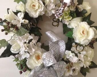 Wedding Wreath, Elegant Anniversary Wreath, Wedding Shower Wreath,  Wall Hanging, Beautiful Gift
