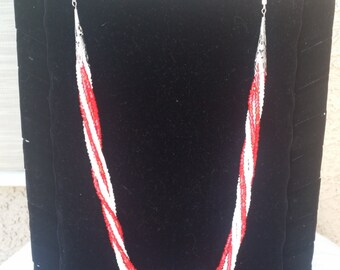 Red, White And Silver Multi Twist Strand Necklace