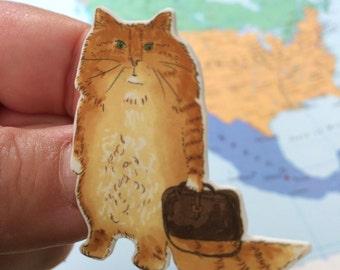 Travelling Ginger Orange Cat Brooch