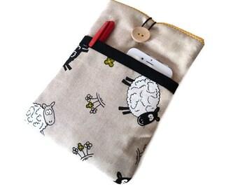 Nook HD 7 Sleeve sheep  / Fabric Kindle Fire Case / Galaxy Tab 7 sheep / Google's Nexus 7 cover / Linen Case Pocket Sheep - Ready TO SHIP
