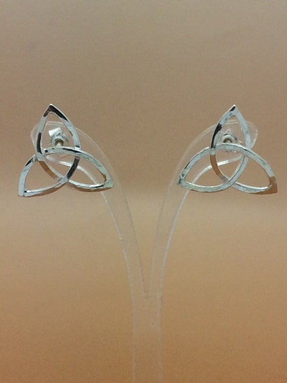 Handcrafted Sterling Silver Celtic Triangle Stud Earrings, Hallmarked.