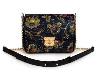 Leather Cross body Bag, Dark blue Leather Shoulder Bag, Women's Leather Crossbody Bag, Leather bag KF-442