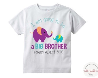 Big brother elephant  t shirt for toddler, big brother shirt, sibling shirt, boy's shirt big brother to be, pregnancy announcement shirt