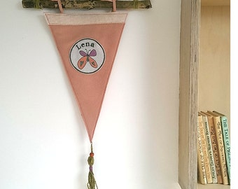 Custom Pennant Flag/Wool Felt Pennant Banner/Wall Pennant/Wallhanging/Kids Room Decor/Butterfly