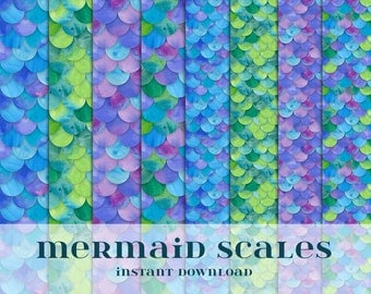 "Mermaid scales Digital Paper 12x12"" scrapbooking paper"