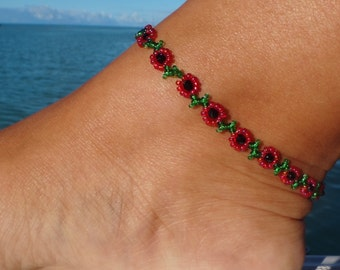 Ankle bracelet, anklet, Poppy Anklet - Red Flower Ankle Bracelet - Daisy anklet - Beaded Jewelry