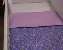 DUVET COVER + Baby BUMPER 2 Piece Set: Baby Quilt Cover Purple Zebra Quilted White BumperNursery Bedding Set \ Toddler Nursery Decor