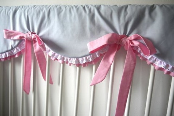 Cot Teething Rail Ruffle Designer Crib Rail Guard for Baby Girl - Classic Nursery Decor Toddler