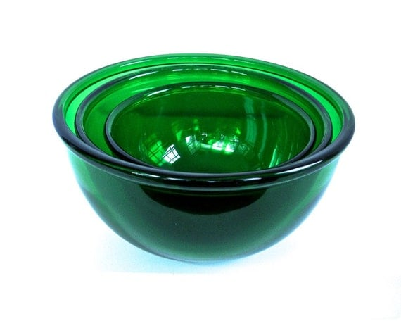 Vintage Set 3 Mixing Bowls Nested Forest Green Anchor