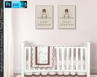Nursery interior #15 Portrait & Landscape 12x16 Canvas, Set of 2 Canvas, White Baby Crib, Nursery Display Mockup PNG PSD PSE, Custom colors